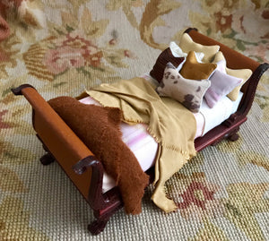 Bespaq Bed Dressed Brown Leather Head & Foot Boards 1:2 Scale Dollhouse Miniature