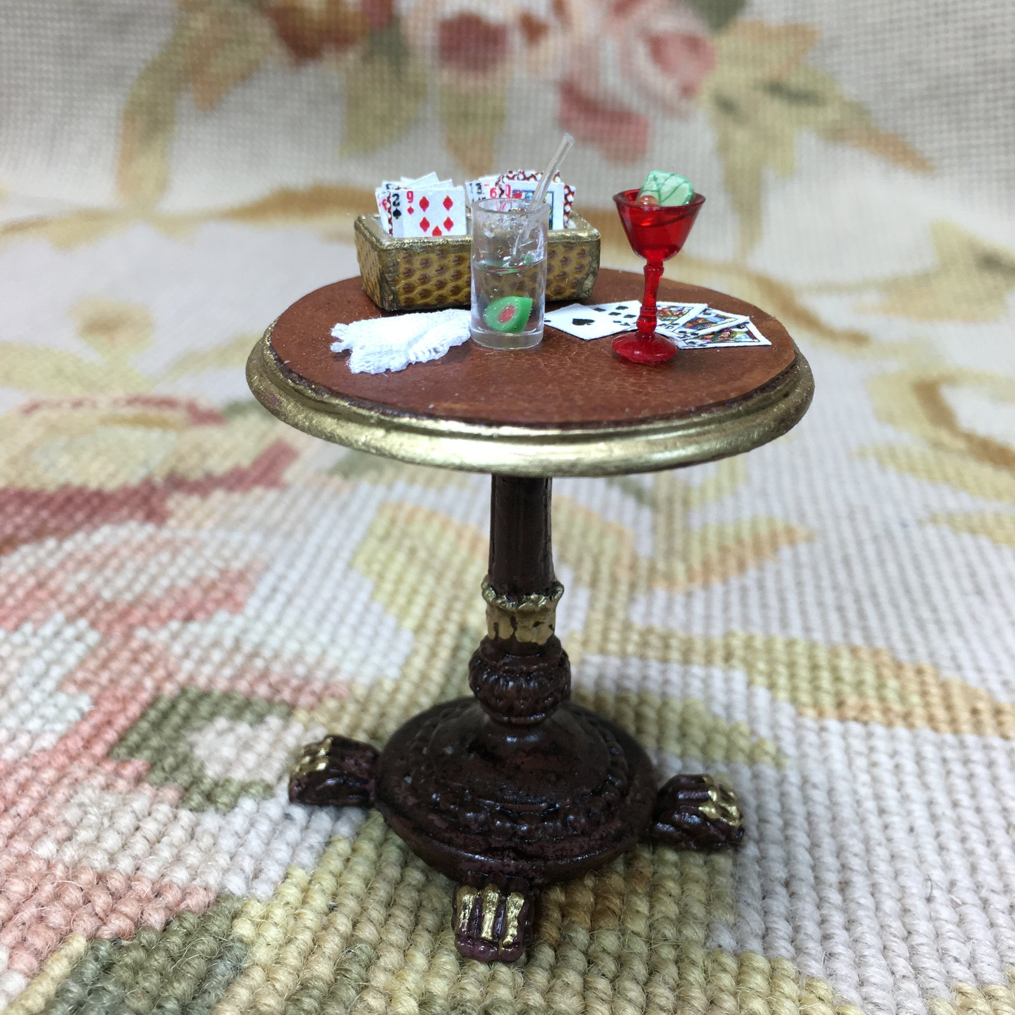 Table Stand Dressed with Card Box Napkin Bar 2 Cocktails 1:12 Scale SPECIAL ORDER Dollhouse Miniature