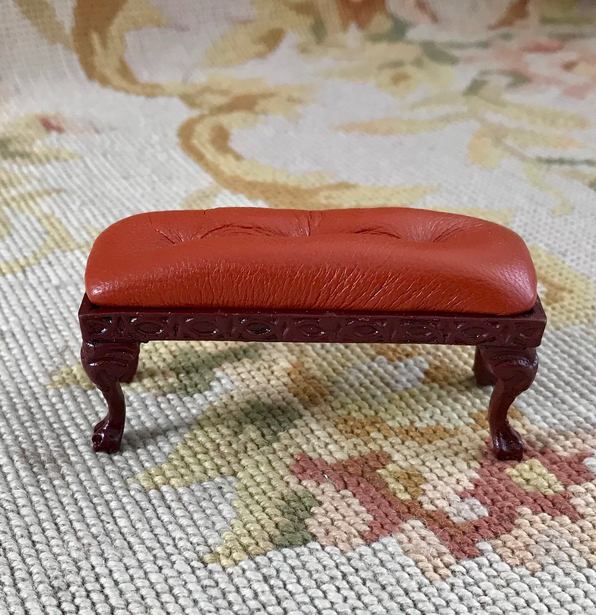 Stool Ottoman Seat Table Cinnamon Brown Leather 1:12 Scale Dollhouse Miniature