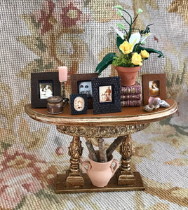 Table Stand Dressed with Framed Pictures SPECIAL ORDER 1:12 Dollhouse Miniature