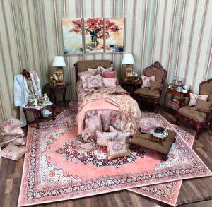 Bed Dressed Mauve Brown Leather Headboard 1:2 Scale Dollhouse Miniature