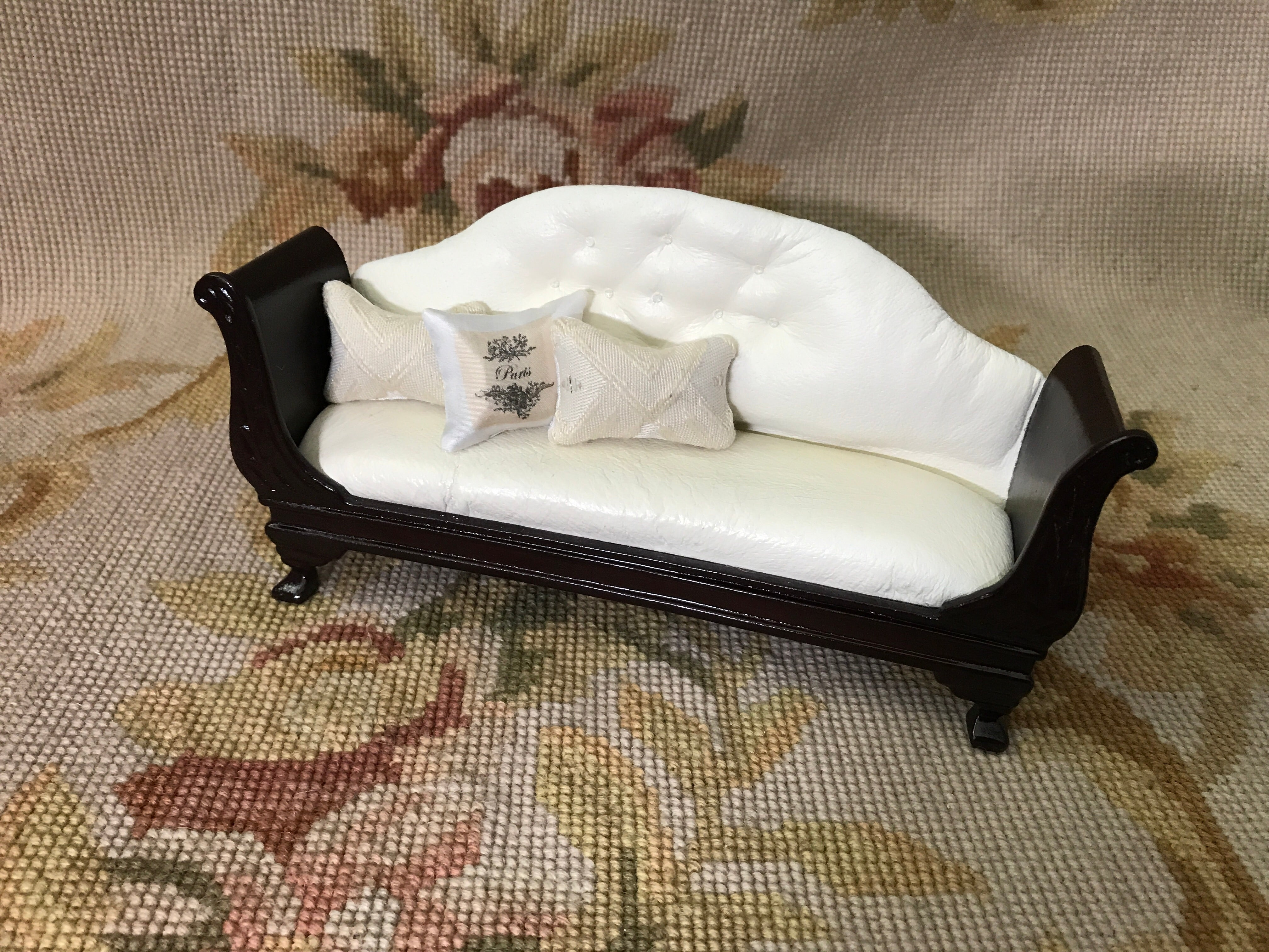Copy of Bespaq Sofa Seat Couch Chaise Lounge Settee with Pillows 1:12 Dollhouse Miniature