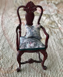 Bespaq Chair Seat with Arms and Pillow - Hunt Fabric 1:12 Dollhouse Miniature