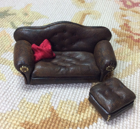 "1/2"" Half Inch Leather Sofa Couch Seat 1:24 Dollhouse Miniature"