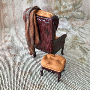 Chair Seat with Pillow, Drape & Stool Ottoman 1:12 Scale Dollhouse Miniature