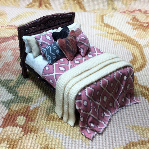 "1/2"" Bed Dressed with Pillows & Drape 1:24 Dollhouse Miniature"