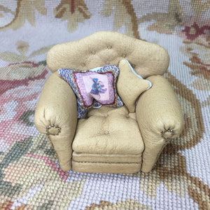 Chair Club Leather with Pillows Tan 1:12 Dollhouse Miniature