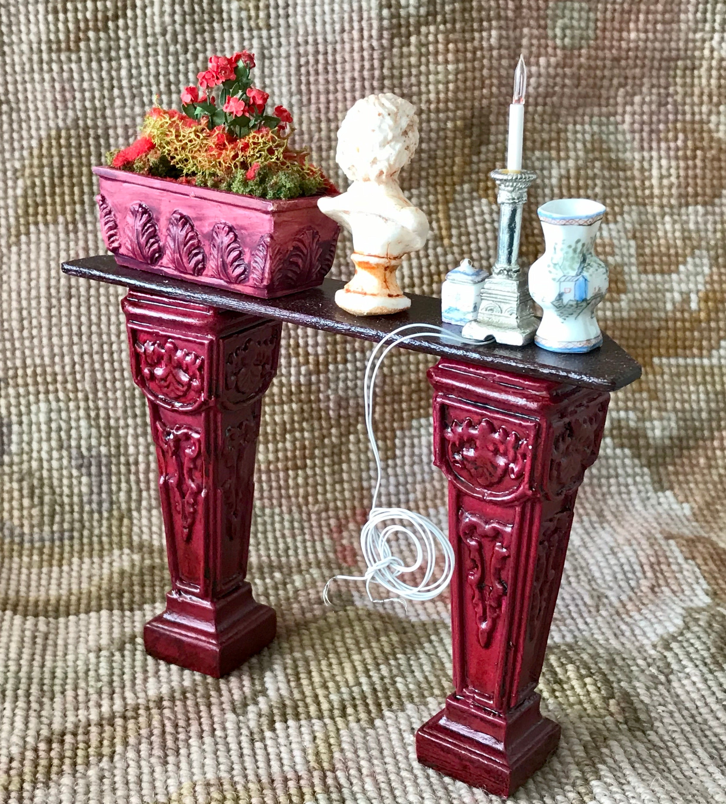Table Stand Pedestal Dressed with working candle, plant, Bespaq vase & container ,bust 1:12 Dollhouse Miniature