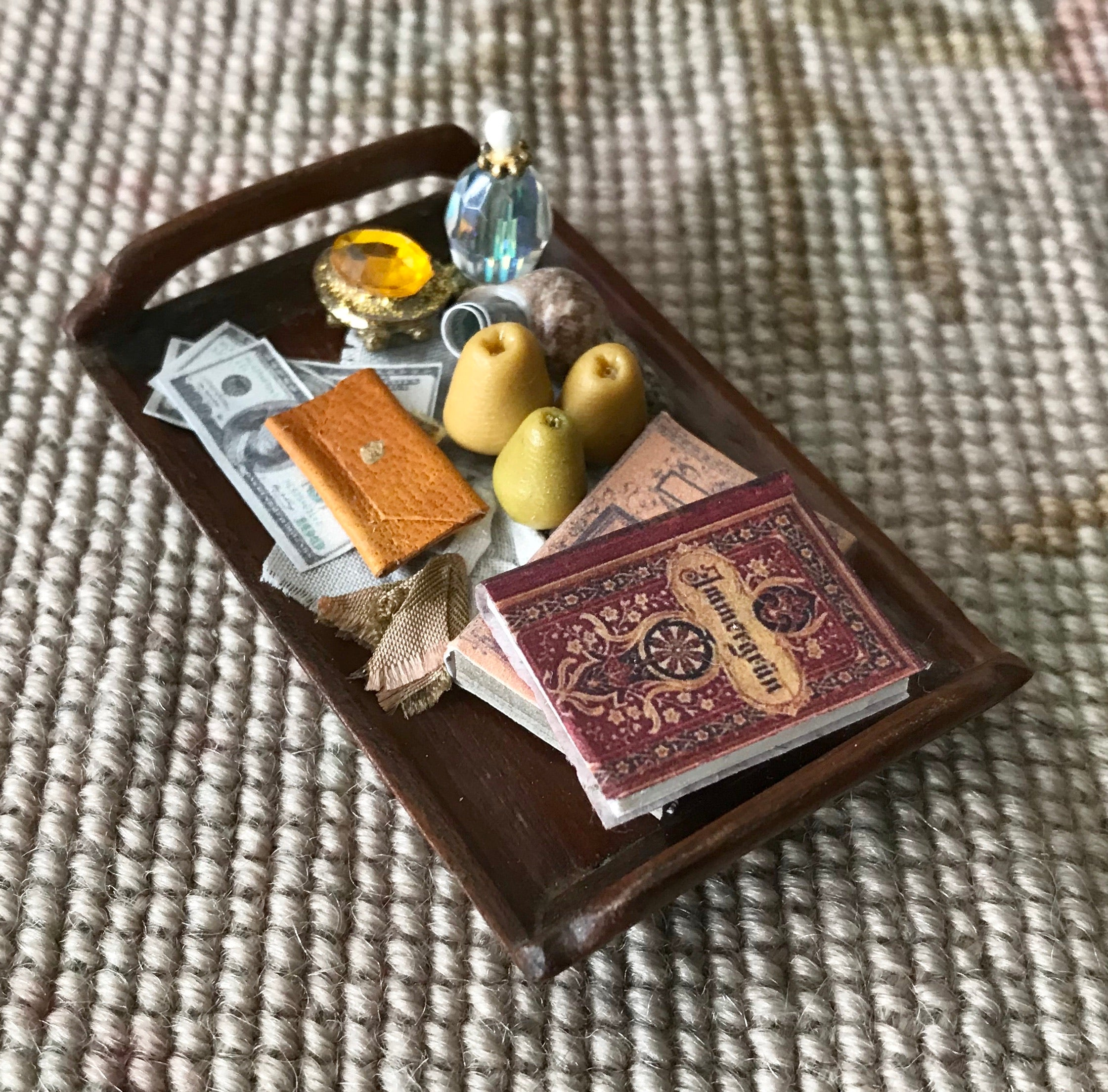 Tray Dressed Books Fruit Money Purse 1:12 Dollhouse Miniature