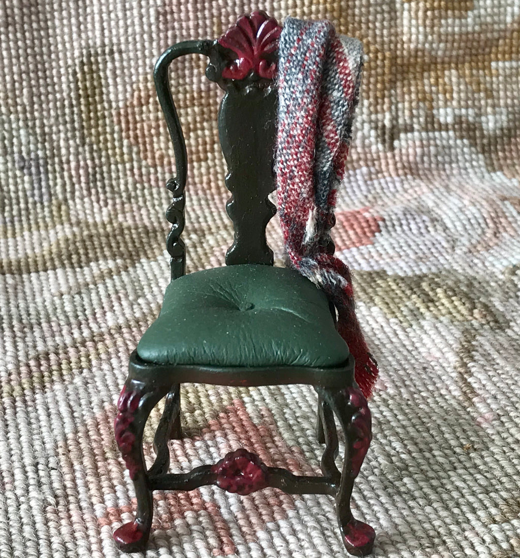Bespaq Juniper Green Side Chair Seat With Drape 1:12 Dollhouse Miniature