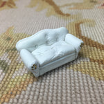 "1/4"" Quarter Inch Scale Leather Sofa White Dollhouse Miniature"
