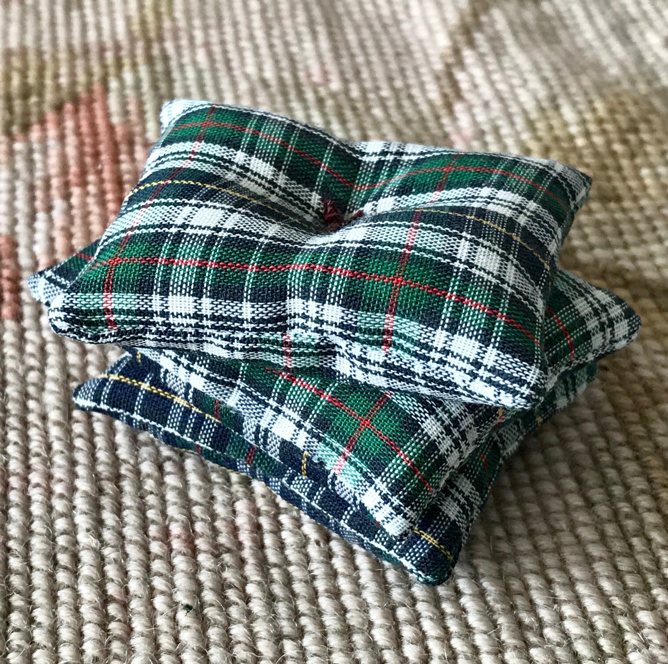 Pillow Stack Cushion Plaid 1:12 Dollhouse Miniature