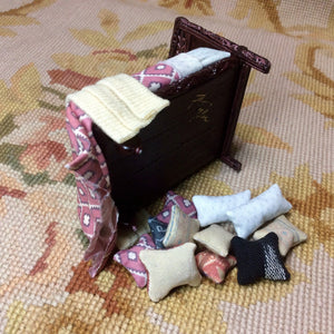 "1/2"" Bed Dressed with Pillows & Drape Dollhouse Miniature"