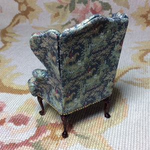 Chair Wing Hunt Printed Cotton 1:12 Scale SPECIAL ORDER  Dollhouse Miniature