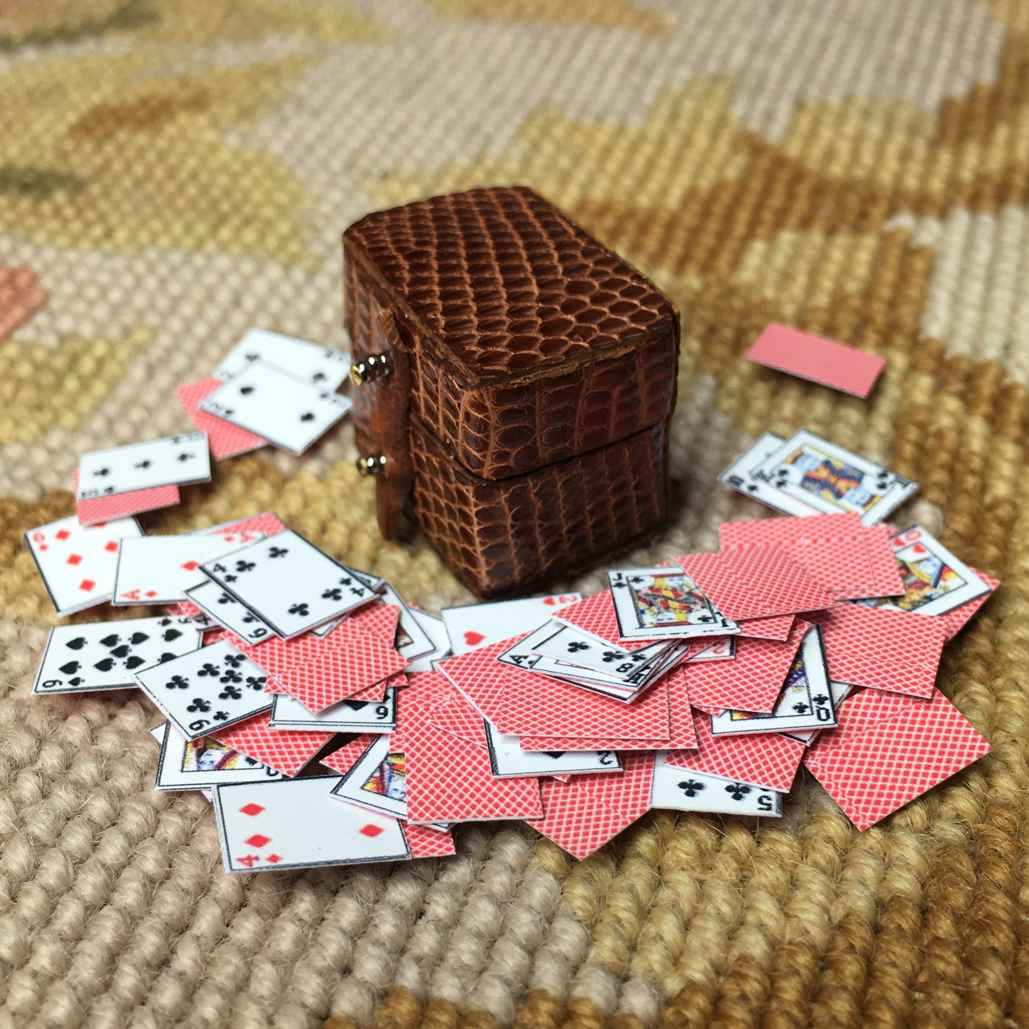 Card Box Container Case Brown 1:12 Dollhouse Miniature