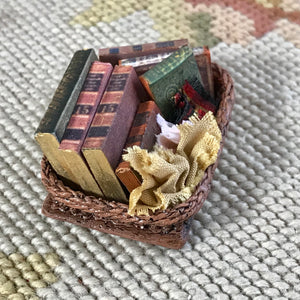 Basket Container Filled With Books & Fabric 1:12 Dollhouse Miniature