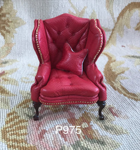Chair Wing Leather Seat Chaise 1:12 Dollhouse Miniature
