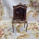 Bespaq Desk Secretary Cabinet with Books Dressed 1:12 Dollhouse Miniature