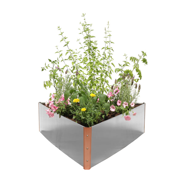 Stainless Steel and Copper Raised Garden Bed - Triangle