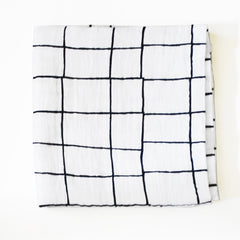 Limited Edition Organic Muslin Swaddle - Grid