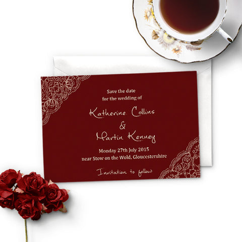 Burgundy Lace Save the Date