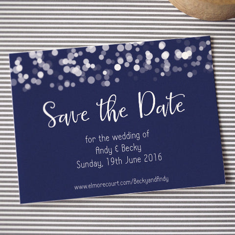 Glittering Lights Save the Date: navy
