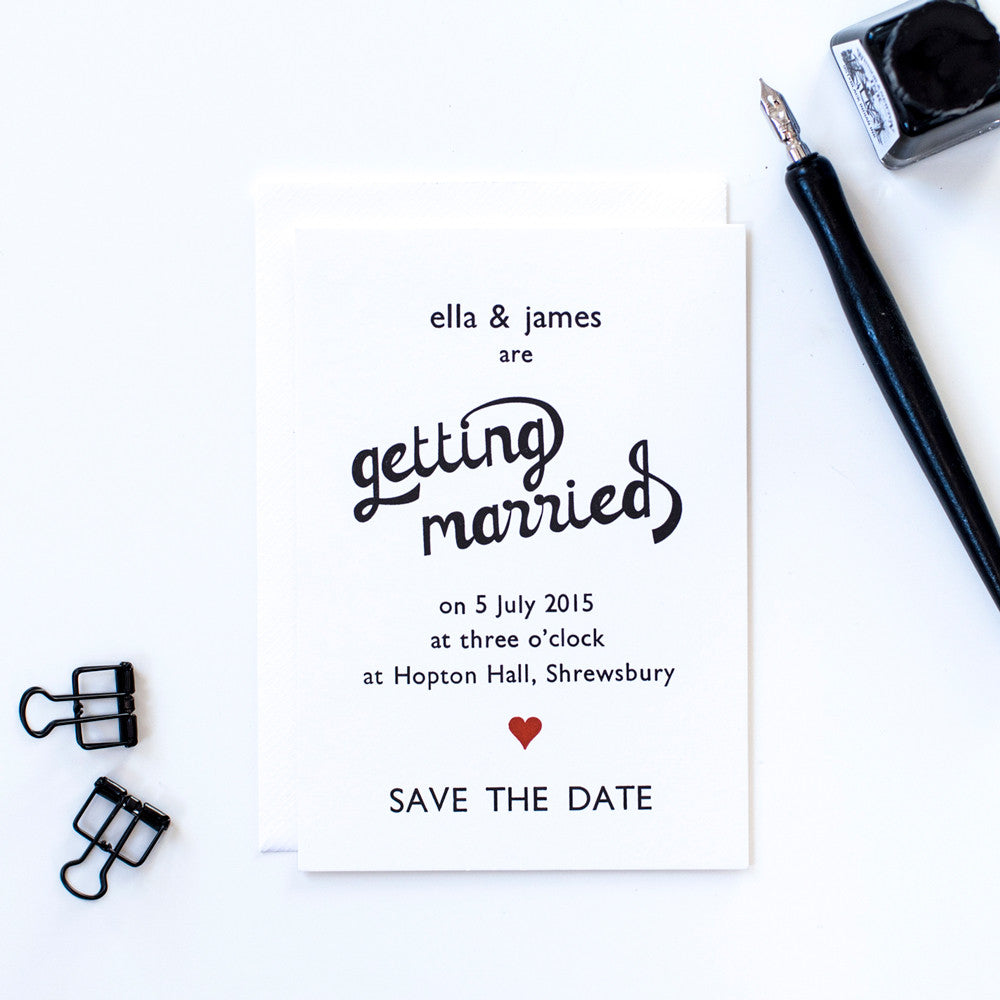 Letterpress Heart Save the Date