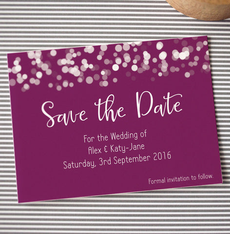 Glittering Lights Save the Date: plum