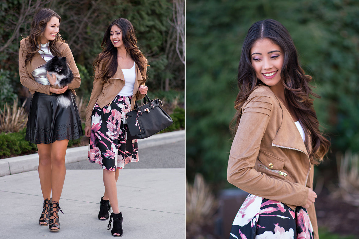 Floral Skirts and Leather Jackets