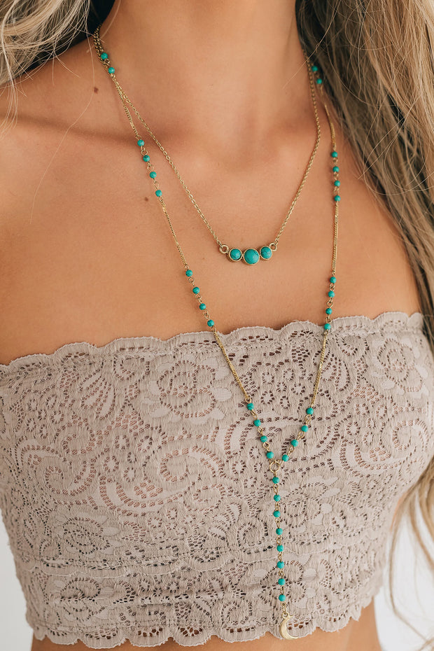 Where To Start Lariat Necklace (Teal) - NanaMacs