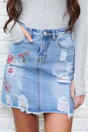 Freya Floral Distressed Denim Skirt (Light Denim)