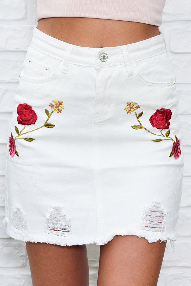 Freya Floral Distressed Denim Skirt (White)