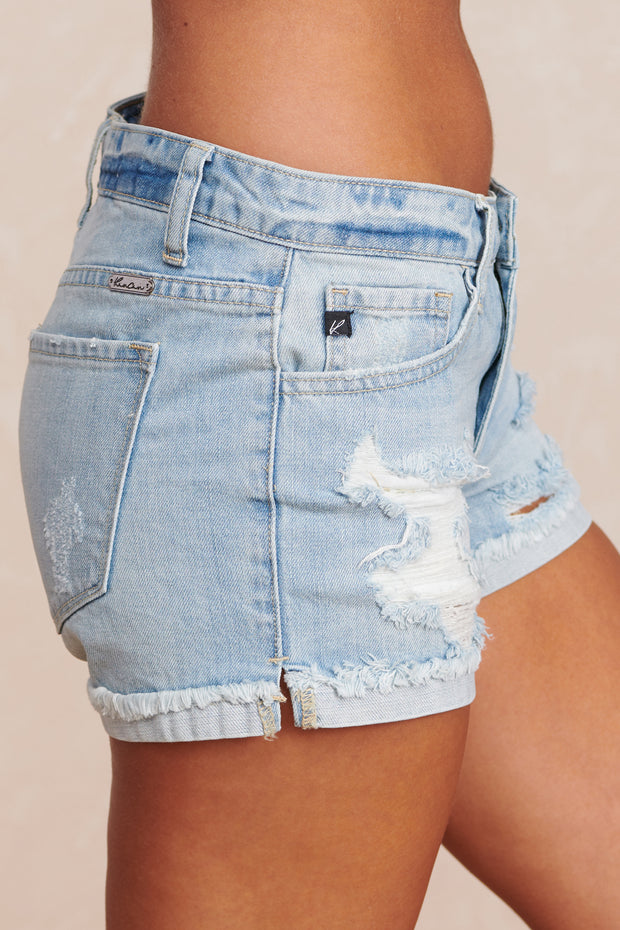 Shelby Distressed KanCan Shorts (Light Wash)