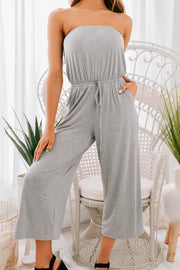 If You Insist Strapless Jumpsuit (Heather Grey) - NanaMacs