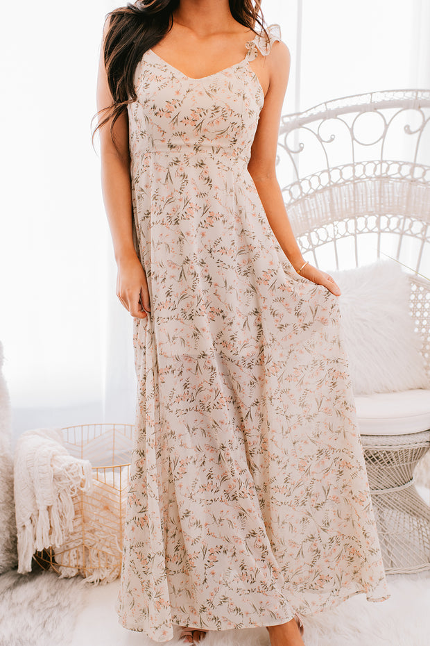 Country Garden Ruffle Floral Maxi Dress (Sand/Multi) - NanaMacs