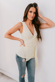 Left An Impression Knit Wrap Top (Ivory) - NanaMacs