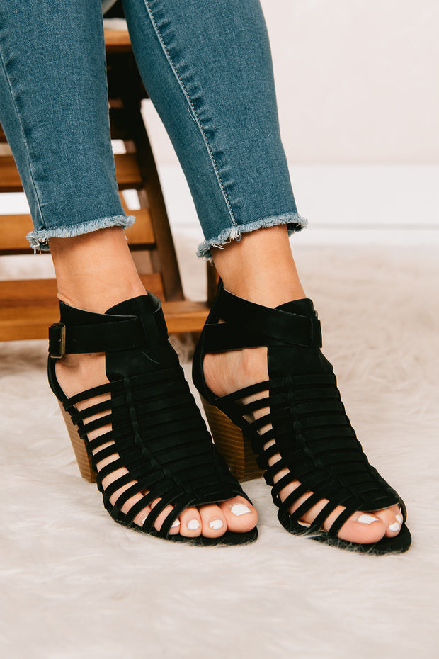 Once In A Lifetime Cutout Booties (Black) - NanaMacs