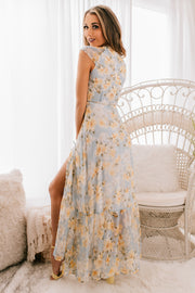 Budding Beauty Floral Wrap Maxi Dress (Light Blue/Yellow) - NanaMacs