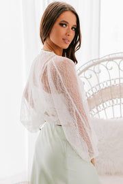 Summer Lover Lace Tie Front Top (Off White) - NanaMacs