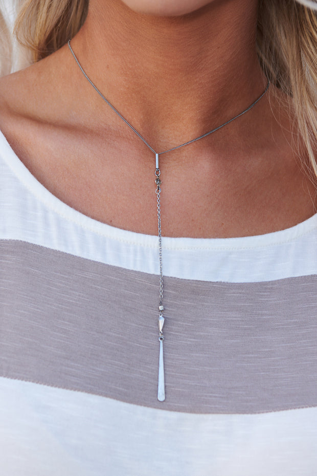 Call You Later Lariat Necklace (Silver)