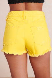 Envy Me High Waisted Shorts (Neon Yellow)