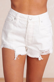 Envy Me High Waisted Shorts (White) - NanaMacs