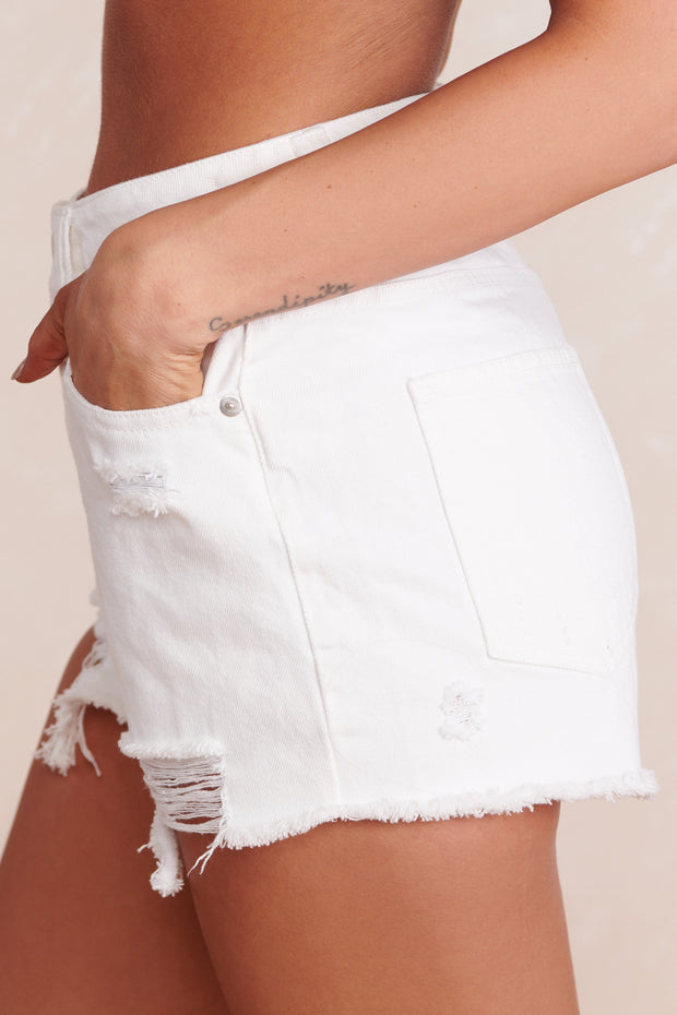 Envy Me High Waisted Shorts (White)