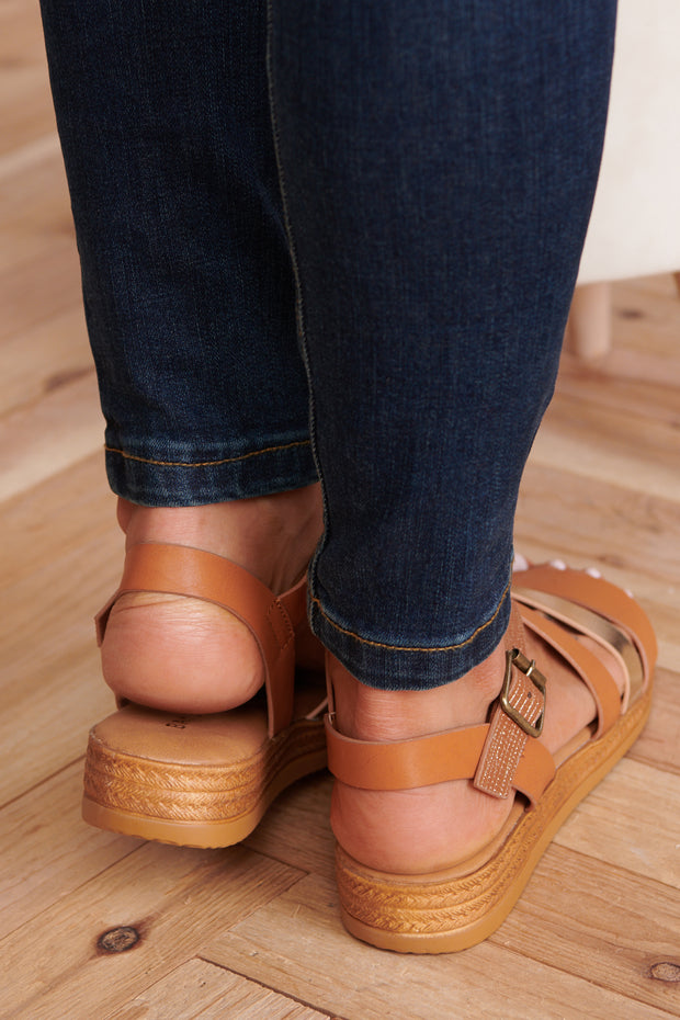 Strappy To Be Here Sandals (Tan Multi) - NanaMacs