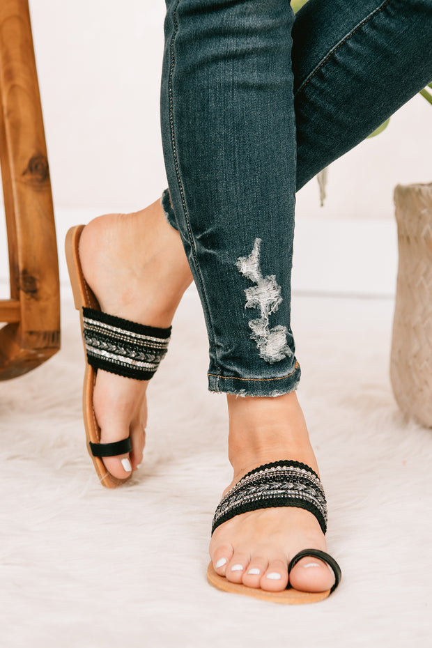 Boho Days Embellished Strap Sandals (Black) - NanaMacs