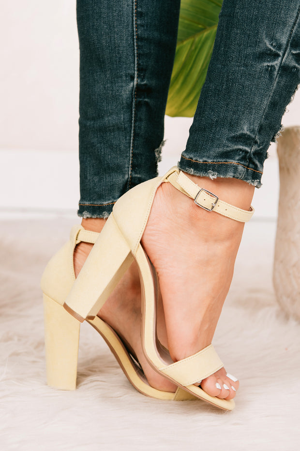 Must Confess Faux Suede Heels (Yellow) - NanaMacs