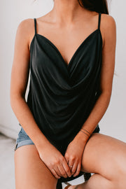 Pure Beauty Cowl Neck Tank Top (Black) - NanaMacs