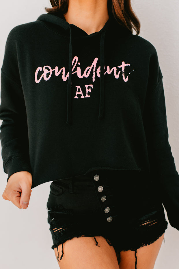 """Confident AF"" Graphic Cropped Hoodie (Black) - NanaMacs"