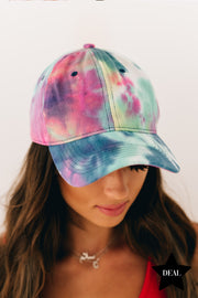 Play Ball Tie Dye Baseball Cap (Blue Coral) - NanaMacs