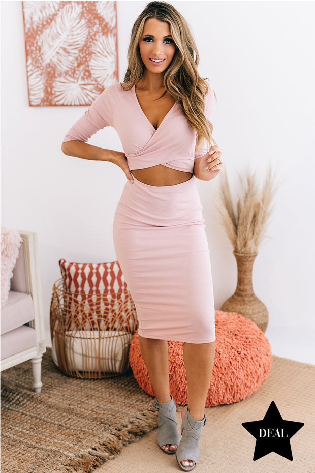 Easy To Believe Cutout Midi Dress (Dusty Rose) - NanaMacs